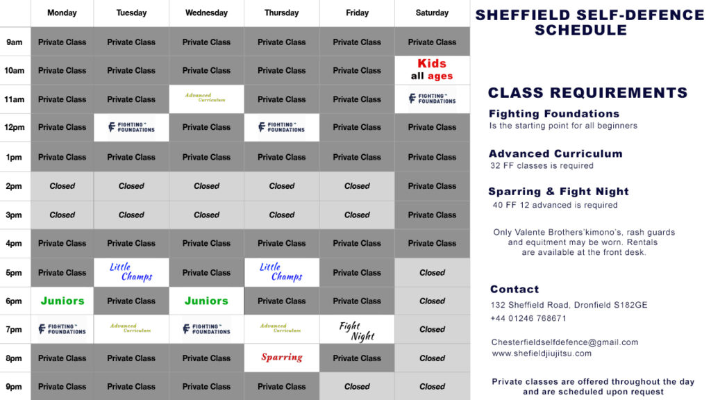jiu jitsu timetable Chesterfield